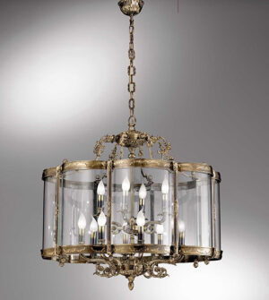 Lampadario a sospensione a lanterna in ottone e vetro