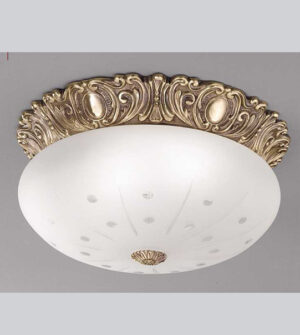 Brass ceiling light with engraved frosted glass Art. 0540