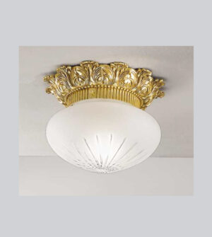 Brass ceiling light with engraved frosted glass Art. 0580