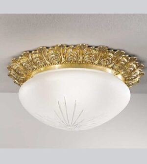Brass ceiling light with etched satin glass Art.0590