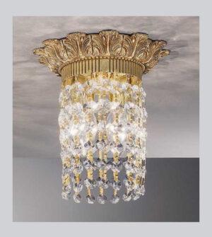Plafoniera in ottone con cristalli pendenti Art. 0620