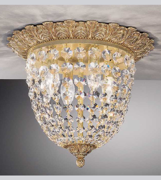 Brass ceiling light with crystals Art. 0630