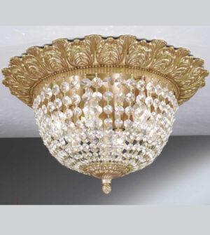 Plafoniera in ottone con cristalli Art.0635