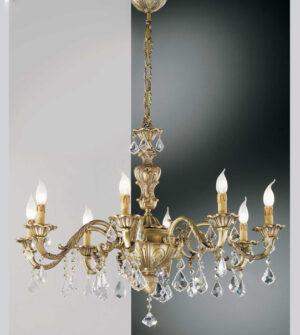 Lampadario a sospensione in ottone con pendenti in cristallo Art. 140/8