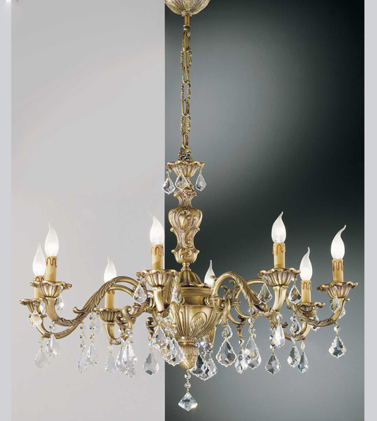 Brass hanging chandelier with crystal pendants Art. 140/8