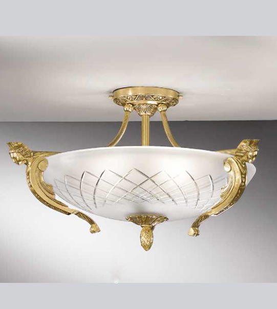 Brass ceiling light with etched satin glass Art. 521/5PL