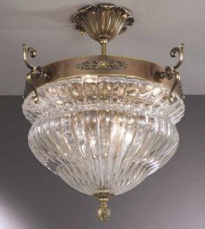 Brass ceiling light with transparent blown glass Art. 571/8PL/TR
