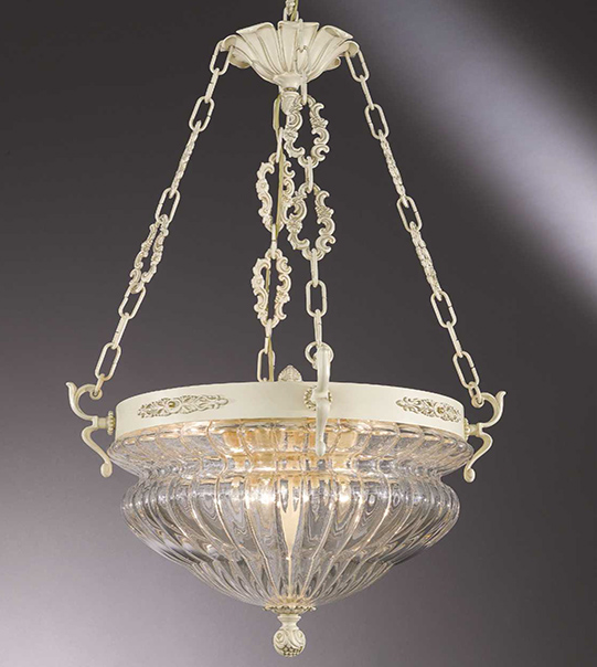 Brass suspension lamp with transparent blown glass lampshade Art. 571/8S/TR