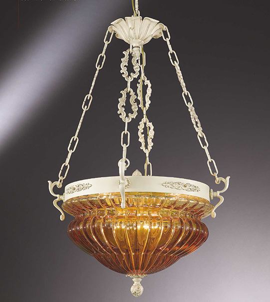 Brass suspension lamp with amber blown glass Art. 571/8S/AM