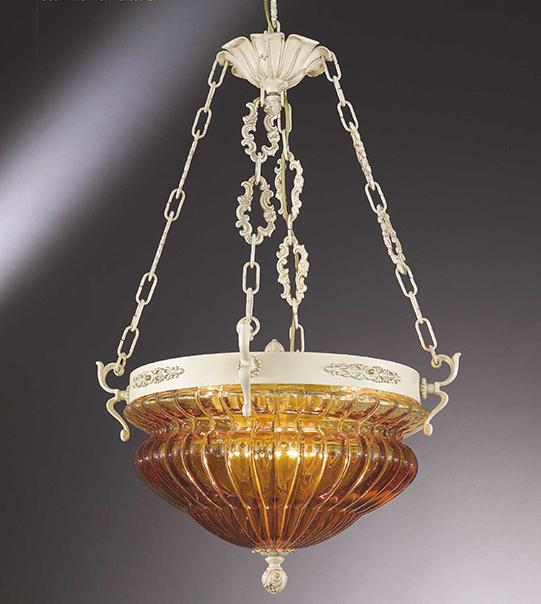 Lampadario a sospensione in ottone con vetro soffiato ambra Art. 571/8S/AM