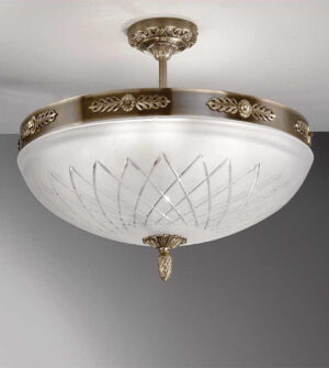 Brass ceiling light with engraved frosted glass Art. 710/8PL
