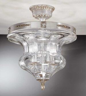 Plafoniera in ottone con vetro soffiato trasparente ART. 905/5PL