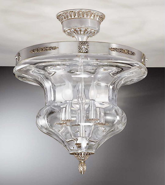 Brass ceiling light with transparent blown glass lampshade ART. 905/5PL
