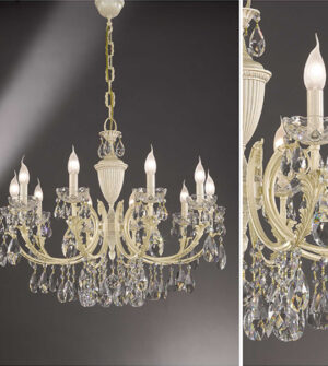Brass pendant chandelier with crystal details Art. 910/10
