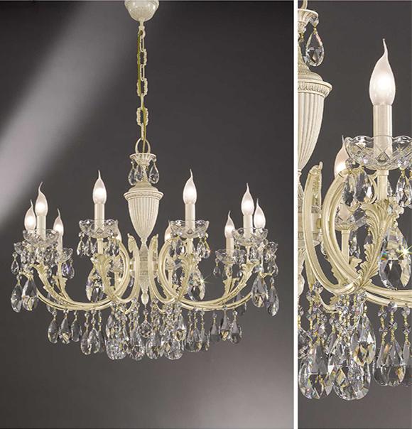 Lampadario in sospensione in ottone con pendenti in cristallo Art. 910/10