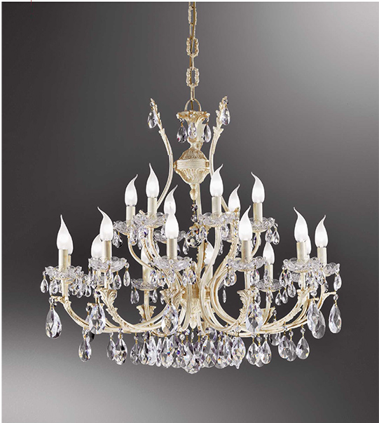 Brass pendant chandelier with crystal details Art. 910/12+6