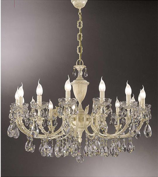 Brass suspension chandelier with crystal details Art. 910/15