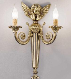 Applique in ottone a due luci con dettaglio di angelo art. a15