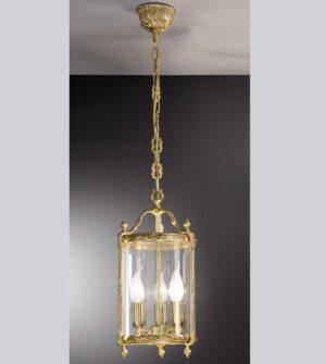 Brass suspension lantern chandelier with hot-bent glass Art. L02/3