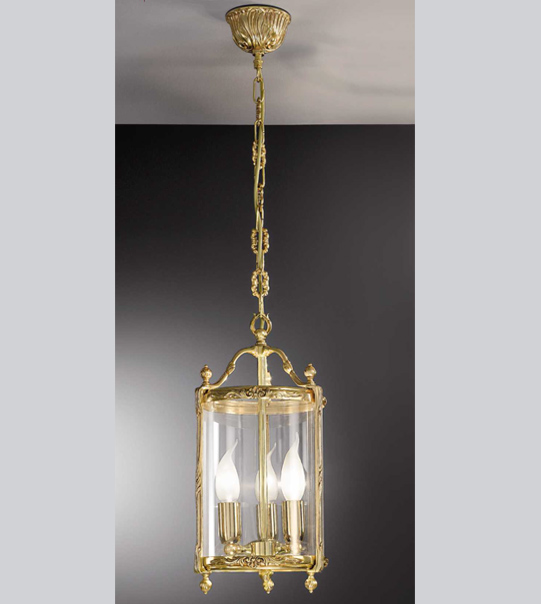 Brass suspension lantern chandelier with hot-bent glass Art. L02/3