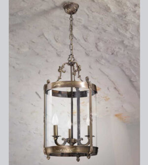Brass suspension lamp with lantern-shaped hot-curved glass lampshade Art. L04/3