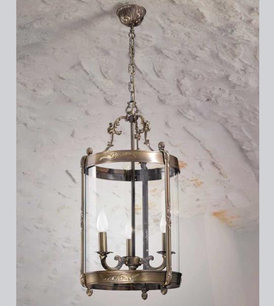 Lampadario a lanterna a sospensione in ottone con vetro curvato Art. L04/3