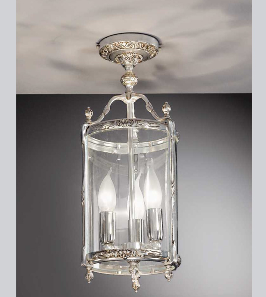 Brass and curved glass lantern ceiling light Art. PL02/3
