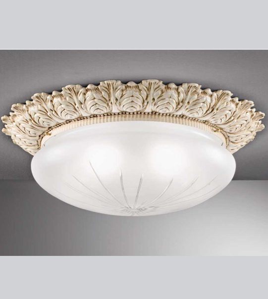 Brass ceiling light with etched satin glass Art. 0595