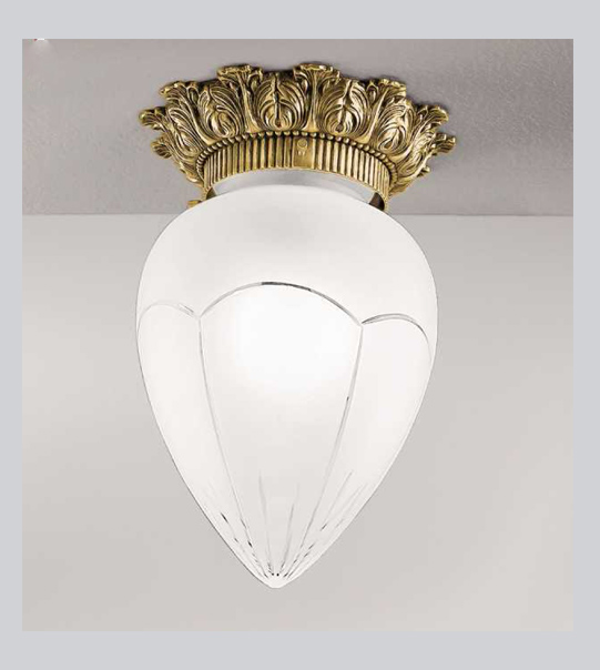 Brass ceiling light with etched satin glass Art. 0600