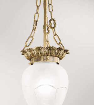 Brass suspension chandelier with engraved frosted glass Art. 0610