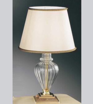 Lampada da tavolo in ottone vetro e paralume Art. 530/1L