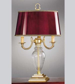 Lampada da tavolo in ottone vetro e paralume Art. 530/3C