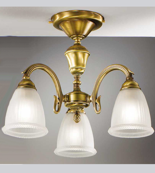 Ceiling lamp in brass and satin glass Art. 535/3PL