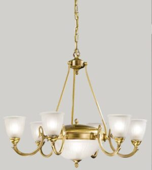 Brass pendant chandelier with blown glass lampshades Art. 535/6+2