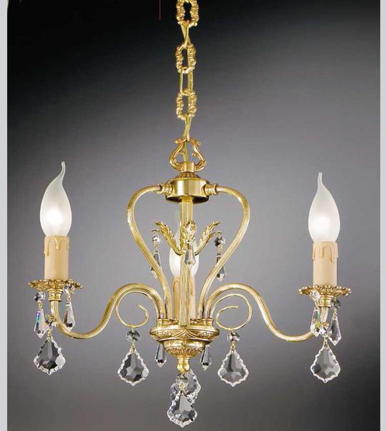 Lampadario a sospensione in ottone con pendenti in cristallo Art.550/3
