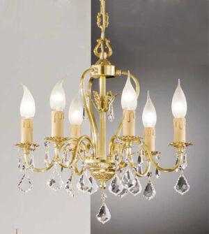 Lampadario a sospensione in ottone con pendenti in cristallo Art.550/6