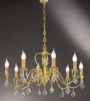 Lampadario a sospensione in ottone con pendenti in cristallo Art.550/8