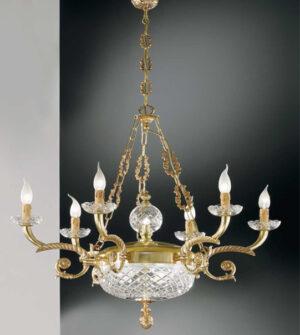 Lampadario a sospensione in ottone con vetro e pendenti in cristallo Art. 570/6+2+1