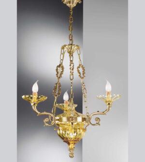 Brass pendant chandelier with glass Art. 571/3+ 2 AM