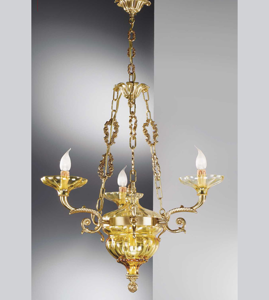 Brass pendant chandelier with glass Art. 571/3+ 2 AM