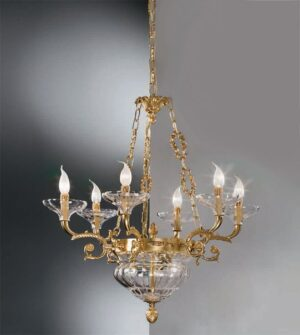 Brass pendant chandelier with frosted glass Art.571/6+3 TR