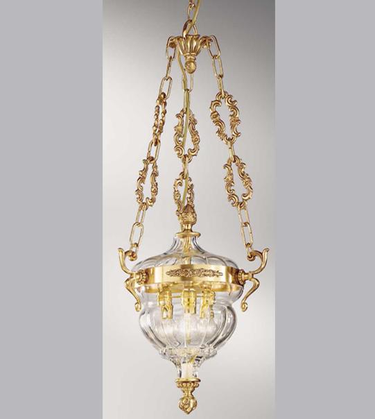 Lampadario a sospensione in ottone con paralumi in vetro Art.572/3S TR
