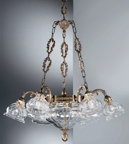 Brass pendant chandelier with blown glass lampshades Art. 572/6+3 TR