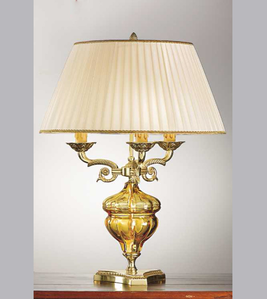 Brass glass table lamp with lampshade Art. 573/3C AM