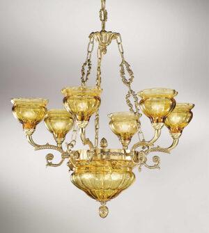 Lampadario a sospensione in ottone con paralumi in vetro soffiato Art. 573/6+3 AM