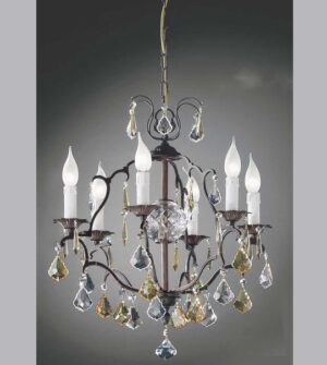 Brass pendant chandelier with crystals Art. 591/ 3+3