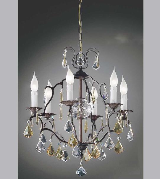 Lampadario a sospensione in ottone con cristalli Art. 591/ 3+3