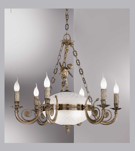Brass pendant chandelier with engraved frosted glass Art. 710/ 6+3
