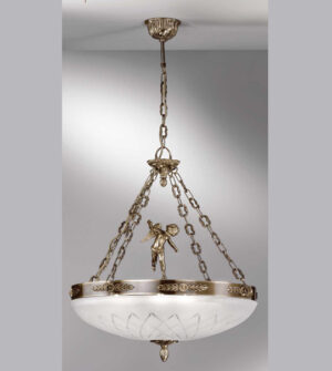 Lampadario a sospensione in ottone con vetro satinato inciso Art. 710/ 8S