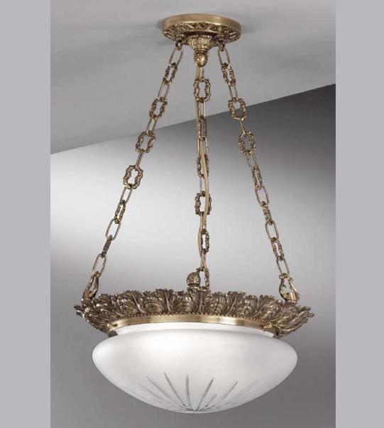 Lampadario a sospensione in ottone con vetro satinato inciso Art. 730/ 2S